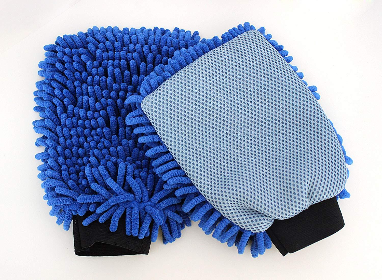 Microfibre Chenille Wash Mitt with Scrubber